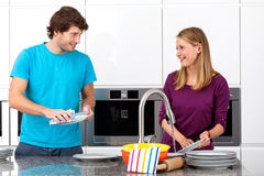 Cleaning after dinner Stock Photography