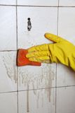 Cleaning of dirty old tiles in a bathroom Royalty Free Stock Images