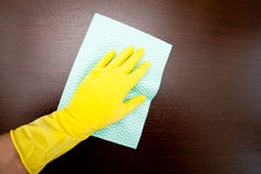 Cleaning dirty table Royalty Free Stock Image