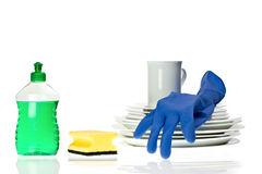 Cleaning the dishes Royalty Free Stock Photos