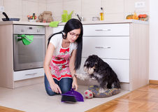 Cleaning after dog in the kitchen. Young woman squatting on knees while cleaning after her dog in the kitchen royalty free stock images