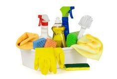 Cleaning dostawy w pudełku, odosobnionym na bielu Obrazy Stock