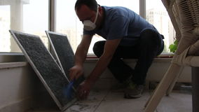 cleaning dust from air condtion filters stock video footage