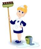 cleaning dziewczyna Obraz Royalty Free