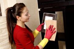 cleaning dziewczyny domowy ja target1241_0_ Obrazy Royalty Free