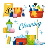 Cleaning elements set with brooms bucket mop spray plunger brush sponge. Vector illustration Royalty Free Stock Photography