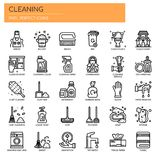 Cleaning elementy, piksel Perfect ikony royalty ilustracja