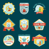 Cleaning Emblems Set Royalty Free Stock Photography