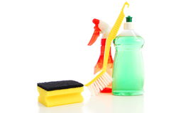 Cleaning equipment. For cleaning kitchen and bath and housework Stock Photos
