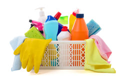 Cleaning equipment in basket  on white background Royalty Free Stock Images