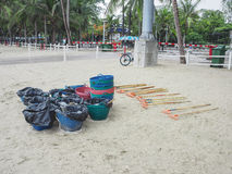 Cleaning equipment on the beach stock photography