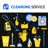 Cleaning Equipment Collection Royalty Free Stock Images
