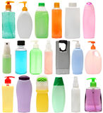 Cleaning equipment .19 colored plastic bottles Royalty Free Stock Photography