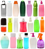 Cleaning equipment .20 colored plastic bottles Royalty Free Stock Photo