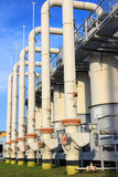 Cleaning equipment on compressor station stock image