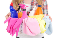 Cleaning equipment in female hands Stock Photo