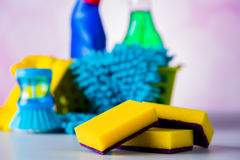 Cleaning equipment with hard light and saturated colors Stock Images