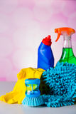 Cleaning equipment with hard light and saturated colors Royalty Free Stock Images