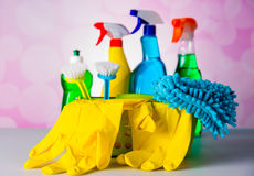 Cleaning equipment with hard light and saturated colors Stock Photography