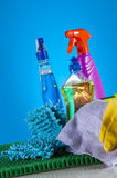 Cleaning equipment with hard light and saturated colors Stock Photo