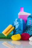 Cleaning equipment with hard light and saturated colors Royalty Free Stock Photos