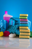 Cleaning equipment with hard light and saturated colors Stock Photos