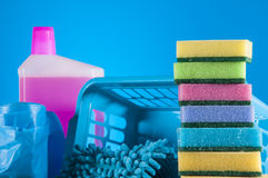 Cleaning equipment with hard light and saturated colors Royalty Free Stock Photo
