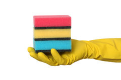 Cleaning equipment, heap of sponge in hand Royalty Free Stock Photography