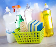 Cleaning Equipment, home work colorful theme Royalty Free Stock Image