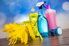 Cleaning Equipment, home work colorful theme Royalty Free Stock Photos