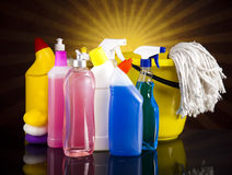 Cleaning Equipment. Cleaning, home work colorful theme Stock Images