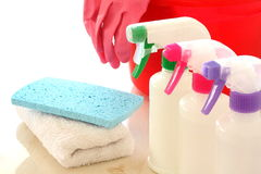 Cleaning equipment. The image of housekeeping, cleaning and housework Royalty Free Stock Photos