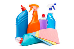 Cleaning equipment isolated on white background Stock Photos