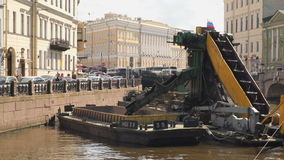 Cleaning equipment on the river Moyka in St.Petersburg stock footage
