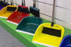 Cleaning equipment for sale on market Royalty Free Stock Photos
