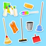 Cleaning equipment, set of vector icons Stock Images
