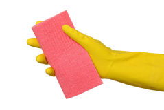 Cleaning equipment, sponge rag in hand Stock Photography