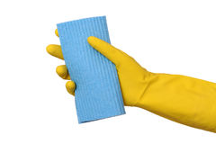Cleaning equipment, sponge rag in hand Royalty Free Stock Images