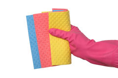 Cleaning equipment, sponge rags in hand Royalty Free Stock Photos