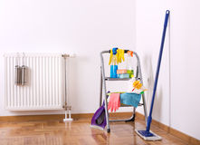 Cleaning equipment and supplies in the room Royalty Free Stock Images