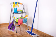 Cleaning equipment and supplies in the room Stock Photos