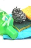 Cleaning essentials. A close-up picture of some cleaning essentials stock photos