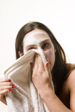 Cleaning face Royalty Free Stock Photo