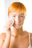Cleaning face's skin Stock Images