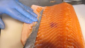 Cleaning fat from Salmon stock video