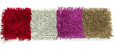 Cleaning feet carpet. Primer furry rugs with a modern twist Stock Photo