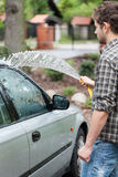 Cleaning first car stock photography