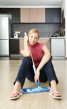 Cleaning a flat. A woman has just  finished cleaning up a flat Royalty Free Stock Images
