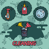 Cleaning flat concept icons Stock Image