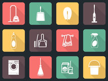 Cleaning flat icon set Royalty Free Stock Photo